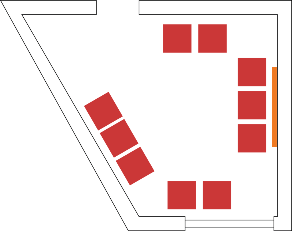 Example setup showing seating for 10 without a table.