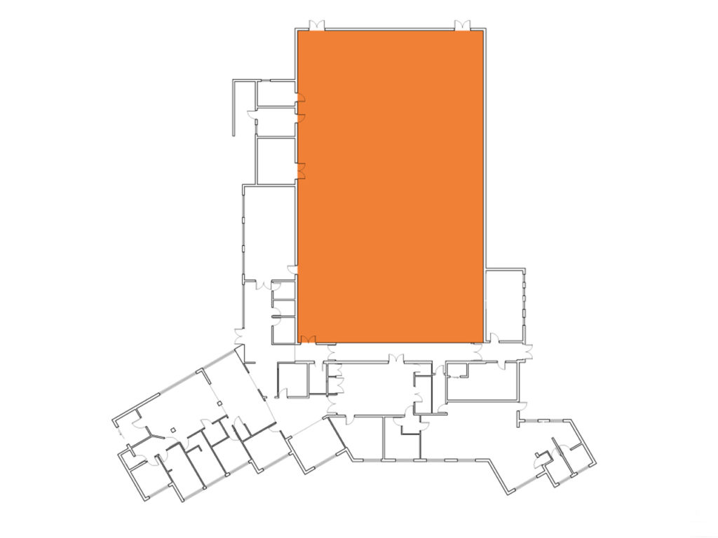 A map showing where the Sports Hall is in the Centre.