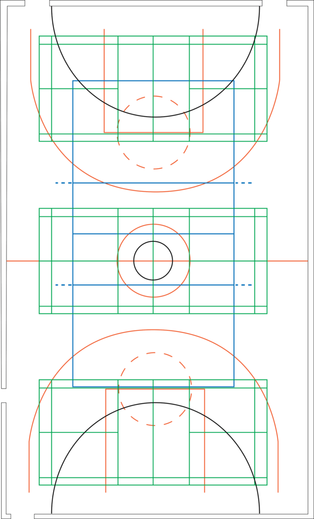 Floor markings for different sports